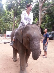Sara looks at home on the elephant