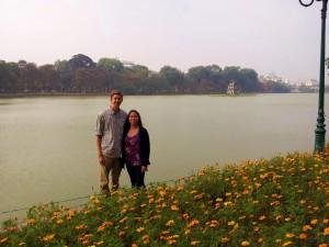 Good looking couple at the lake