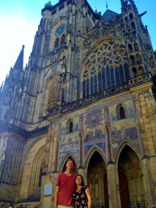 Beautiful people in front of beautiful Prague castle