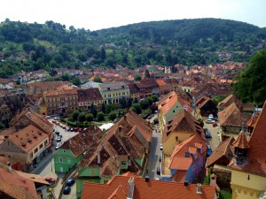 Colorful Sighisoara from the clock tower